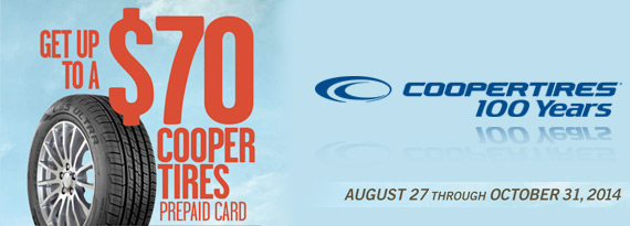 Cooper Tires Fall Rebate - Up to $70