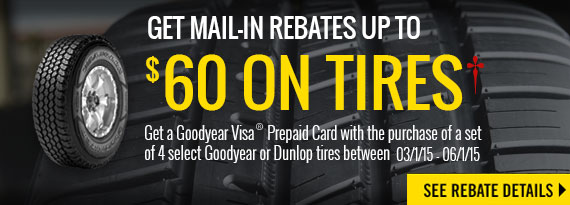 Goodyear & Dunlop Tires- Up to $60 Rebate